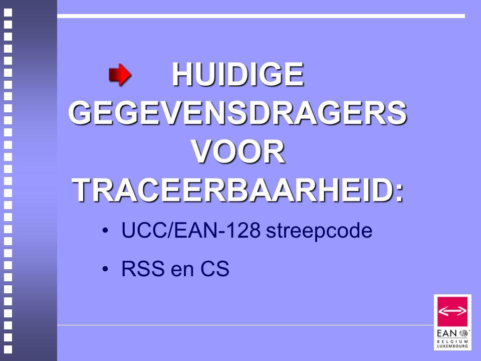 HUIDIGE GEGEVENSDRAGERS VOOR TRACEERBAARHEID: UCC/EAN-128 streepcode RSS en CS