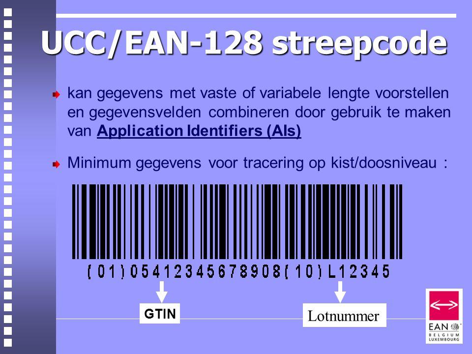 UCC/EAN-128 streepcode kan gegevens met vaste of variabele lengte voorstellen en gegevensvelden combineren door gebruik te maken van Application Identifiers (AIs) Minimum gegevens voor tracering op kist/doosniveau : GTIN Lotnummer