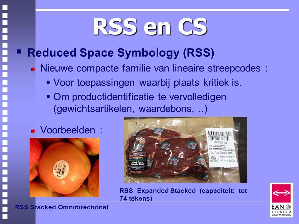 RSS en CS  Reduced Space Symbology (RSS) Nieuwe compacte familie van lineaire streepcodes :  Voor toepassingen waarbij plaats kritiek is.
