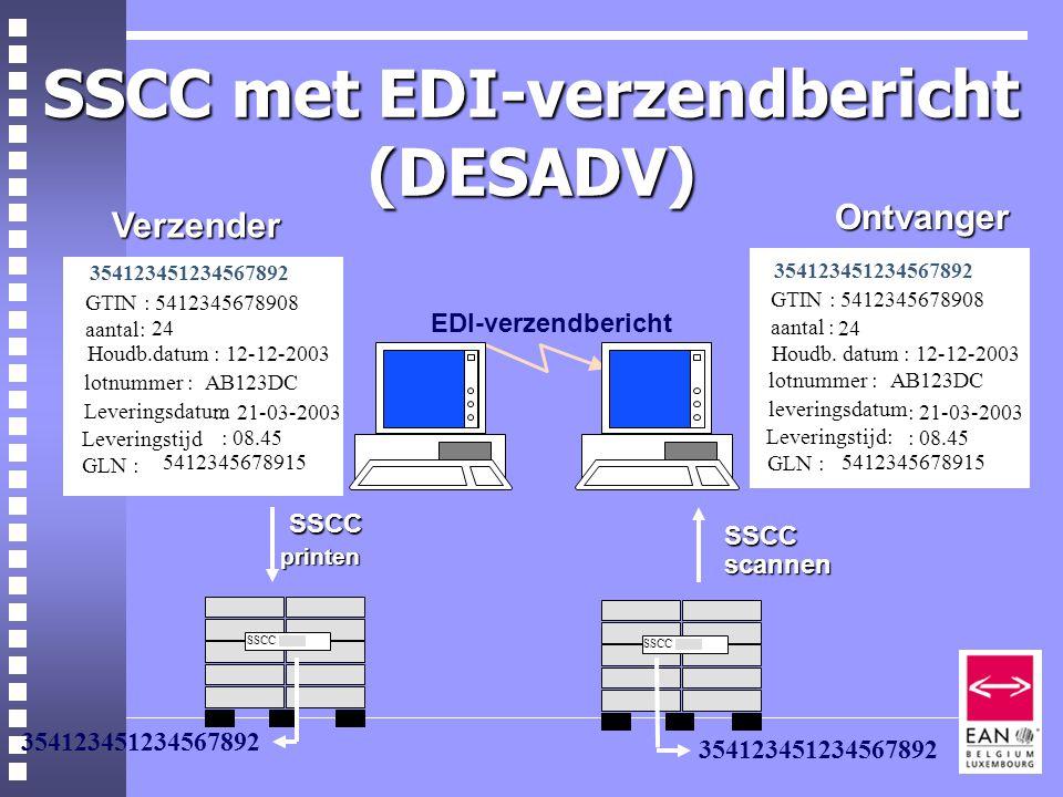 SSCC met EDI-verzendbericht (DESADV) SSCC printen 354123451234567892 SSCC scannen SSCC |||||||||||| EDI-verzendbericht Ontvanger Ontvanger Leveringsdatum :: 21-03-2003 354123451234567892 GTIN : 5412345678908 aantal: 24 Houdb.datum : 12-12-2003 lotnummer :AB123DC Leveringstijd : 08.45 GLN : 5412345678915adrescode:8712345678910 Verzender leveringsdatum : 21-03-2003 354123451234567892 GTIN : 5412345678908 aantal : 24 Houdb.