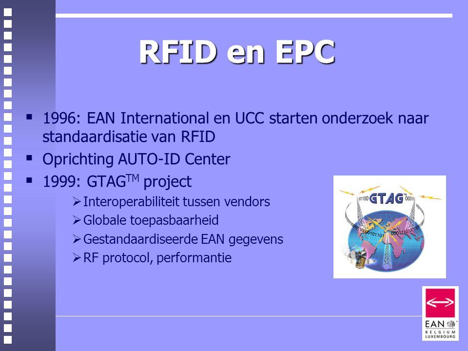 RFID en EPC  1996: EAN International en UCC starten onderzoek naar standaardisatie van RFID  Oprichting AUTO-ID Center  1999: GTAG TM project  Interoperabiliteit tussen vendors  Globale toepasbaarheid  Gestandaardiseerde EAN gegevens  RF protocol, performantie