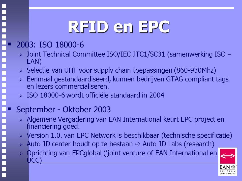 RFID en EPC  2003: ISO 18000-6  Joint Technical Committee ISO/IEC JTC1/SC31 (samenwerking ISO – EAN)  Selectie van UHF voor supply chain toepassingen (860-930Mhz)  Eenmaal gestandaardiseerd, kunnen bedrijven GTAG compliant tags en lezers commercialiseren.
