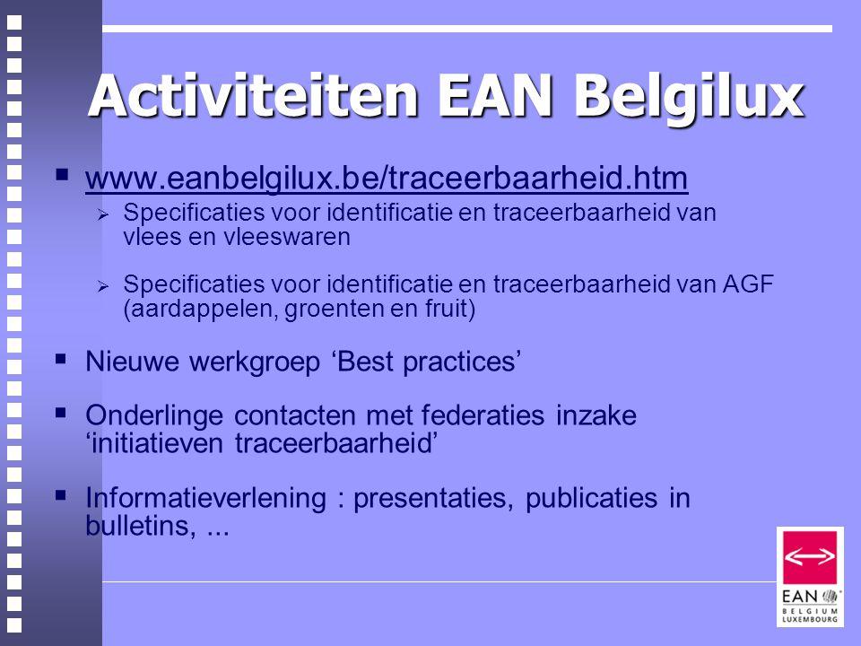 Activiteiten EAN Belgilux  www.eanbelgilux.be/traceerbaarheid.htm  Specificaties voor identificatie en traceerbaarheid van vlees en vleeswaren  Specificaties voor identificatie en traceerbaarheid van AGF (aardappelen, groenten en fruit)  Nieuwe werkgroep 'Best practices'  Onderlinge contacten met federaties inzake 'initiatieven traceerbaarheid'  Informatieverlening : presentaties, publicaties in bulletins,...