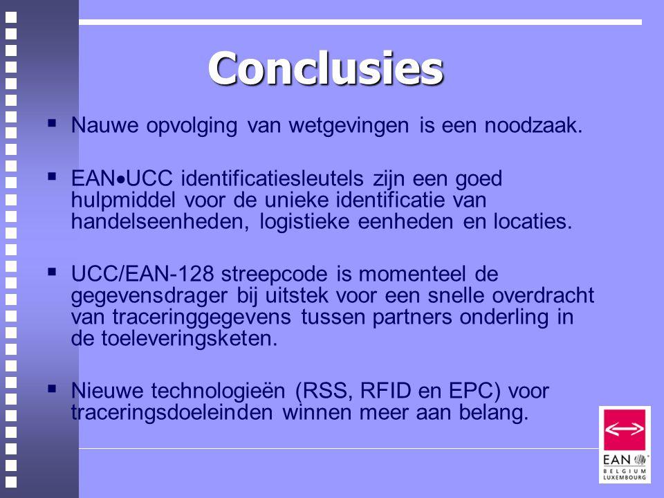 Conclusies  Nauwe opvolging van wetgevingen is een noodzaak.