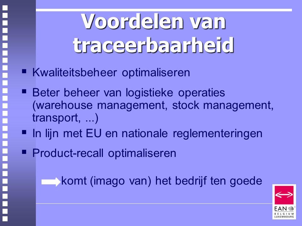 Voordelen van traceerbaarheid  Kwaliteitsbeheer optimaliseren  Beter beheer van logistieke operaties (warehouse management, stock management, transport,...)  In lijn met EU en nationale reglementeringen  Product-recall optimaliseren  komt (imago van) het bedrijf ten goede