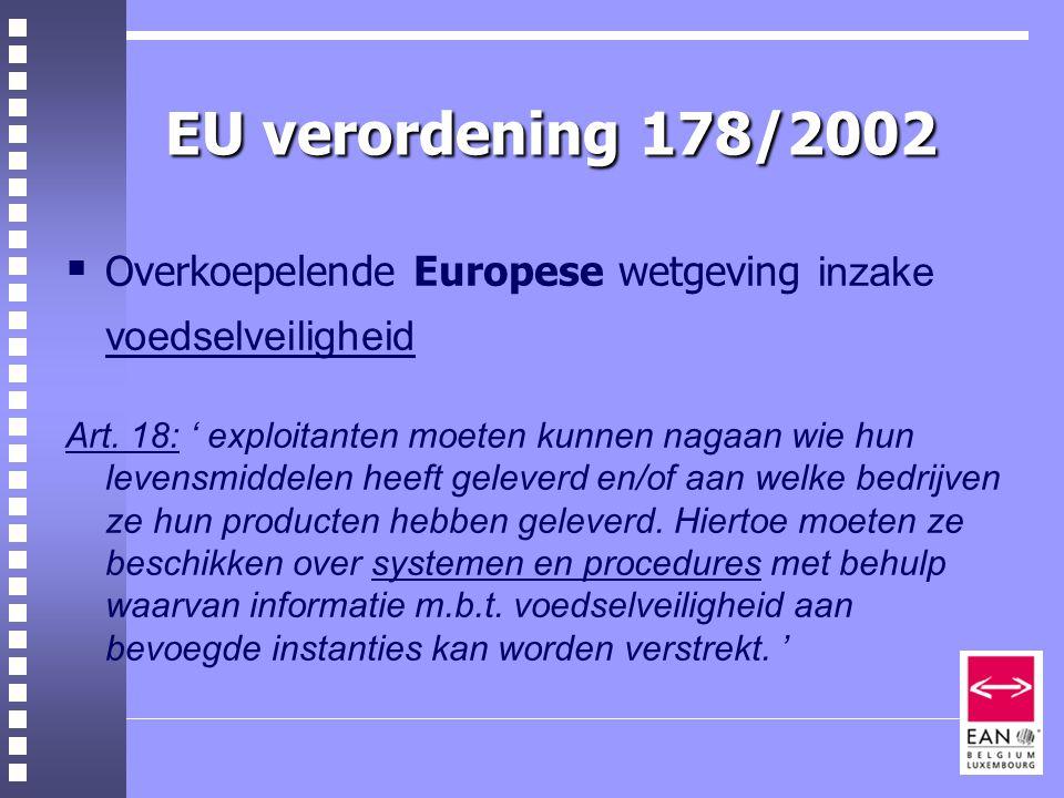 EU verordening 178/2002  Overkoepelende Europese wetgeving inzake voedselveiligheid Art.