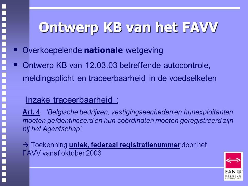 Ontwerp KB van het FAVV  Overkoepelende nationale wetgeving  Ontwerp KB van 12.03.03 betreffende autocontrole, meldingsplicht en traceerbaarheid in de voedselketen Inzake traceerbaarheid : Art.