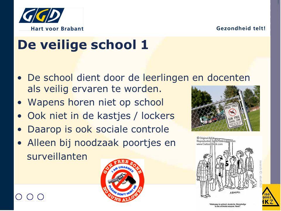 De veilige school 1 De school dient door de leerlingen en docenten als veilig ervaren te worden. Wapens horen niet op school Ook niet in de kastjes /
