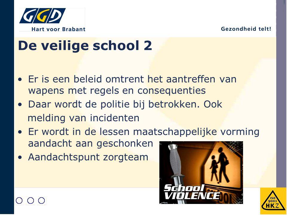 De veilige school 2 Er is een beleid omtrent het aantreffen van wapens met regels en consequenties Daar wordt de politie bij betrokken. Ook melding va