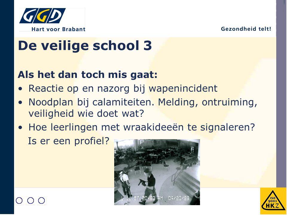 De veilige school 3 Als het dan toch mis gaat: Reactie op en nazorg bij wapenincident Noodplan bij calamiteiten. Melding, ontruiming, veiligheid wie d
