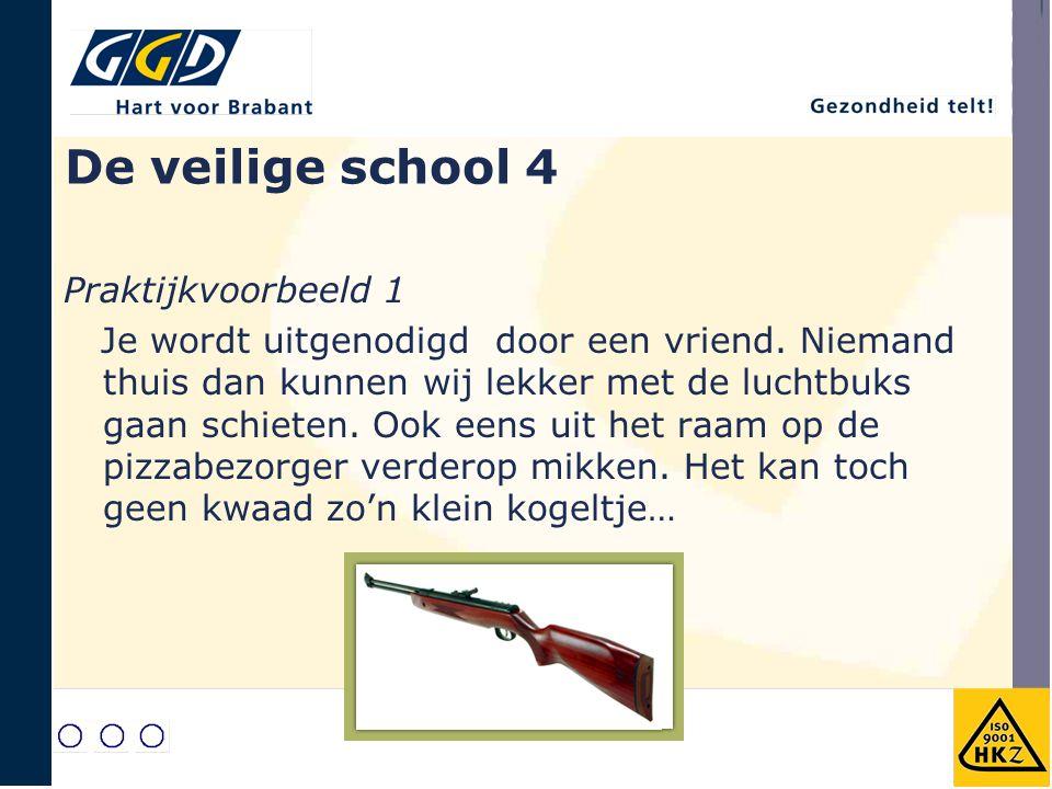 De veilige school 4 Praktijkvoorbeeld 1 Je wordt uitgenodigd door een vriend. Niemand thuis dan kunnen wij lekker met de luchtbuks gaan schieten. Ook