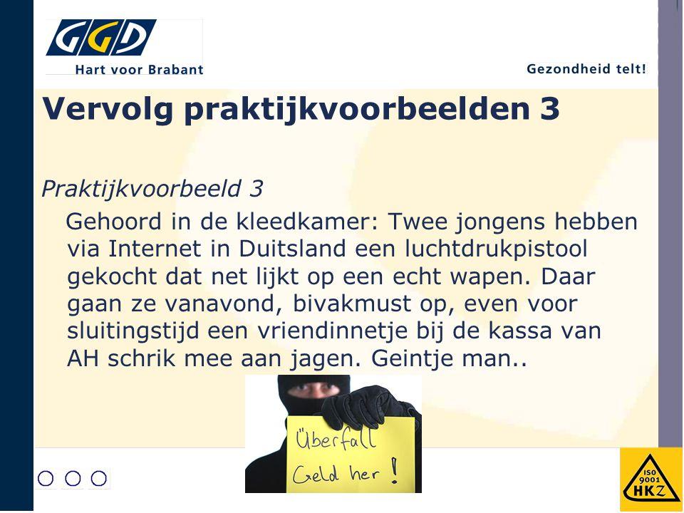 Vervolg praktijkvoorbeelden 3 Praktijkvoorbeeld 3 Gehoord in de kleedkamer: Twee jongens hebben via Internet in Duitsland een luchtdrukpistool gekocht