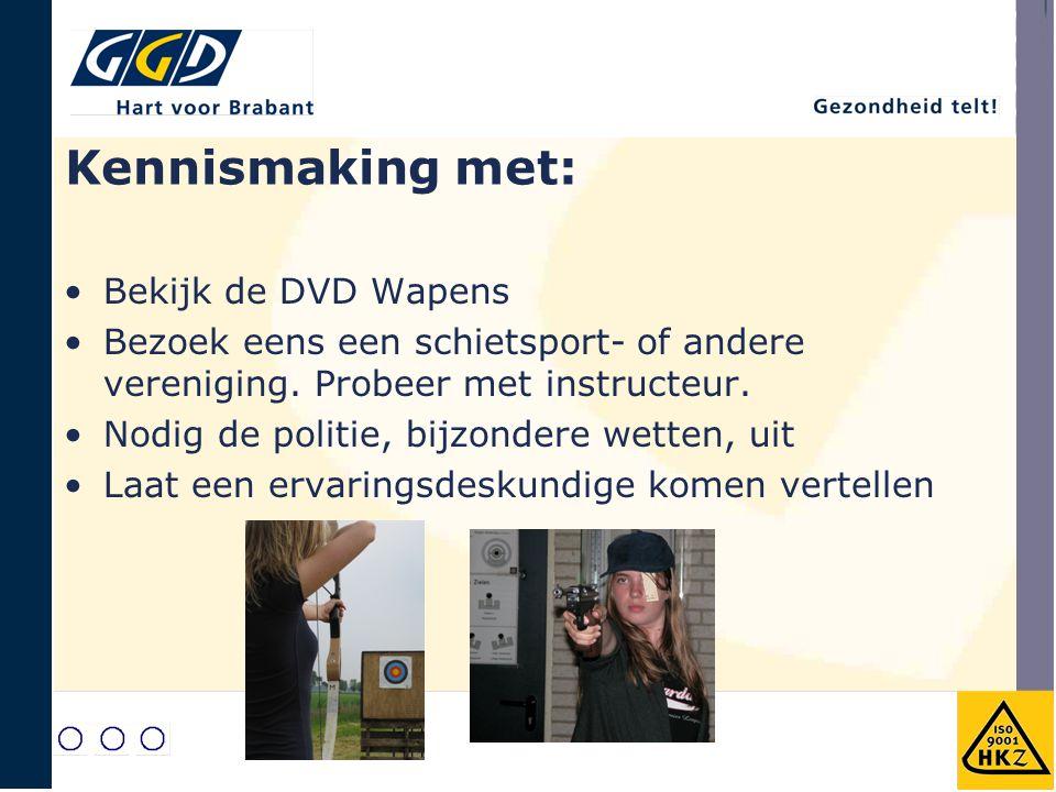 Kennismaking met: Bekijk de DVD Wapens Bezoek eens een schietsport- of andere vereniging. Probeer met instructeur. Nodig de politie, bijzondere wetten