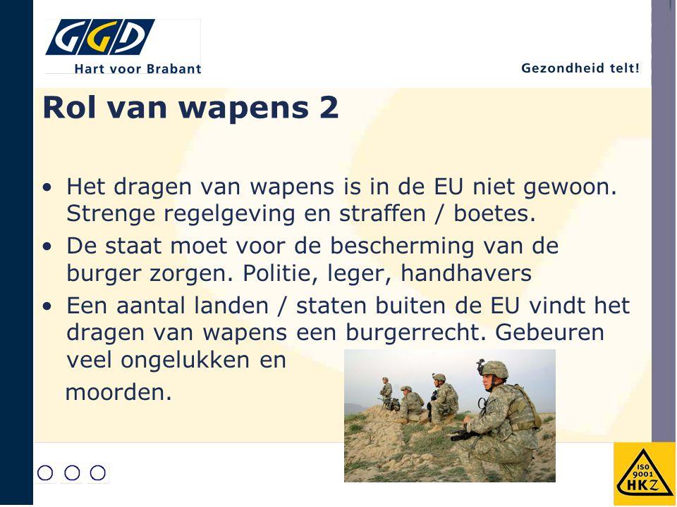 Rol van wapens 2 Het dragen van wapens is in de EU niet gewoon. Strenge regelgeving en straffen / boetes. De staat moet voor de bescherming van de bur