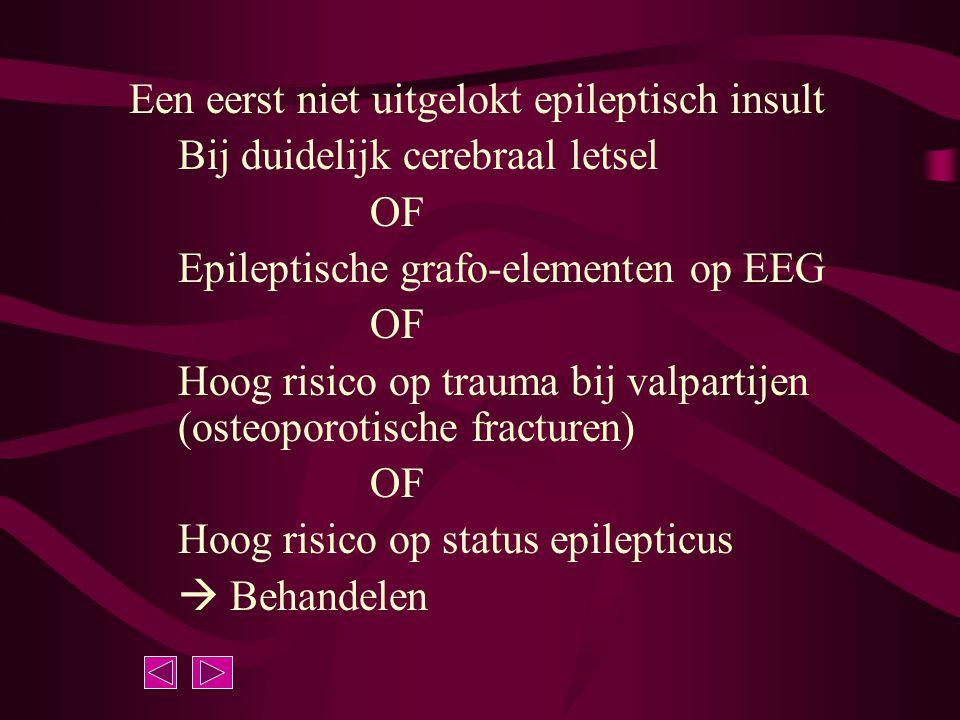 Een eerst niet uitgelokt epileptisch insult Bij duidelijk cerebraal letsel OF Epileptische grafo-elementen op EEG OF Hoog risico op trauma bij valpart