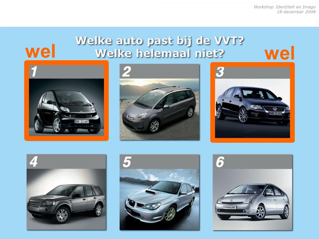 Workshop Identiteit en Imago 18 december 2008 Welke auto past bij de VVT? Welke helemaal niet? wel