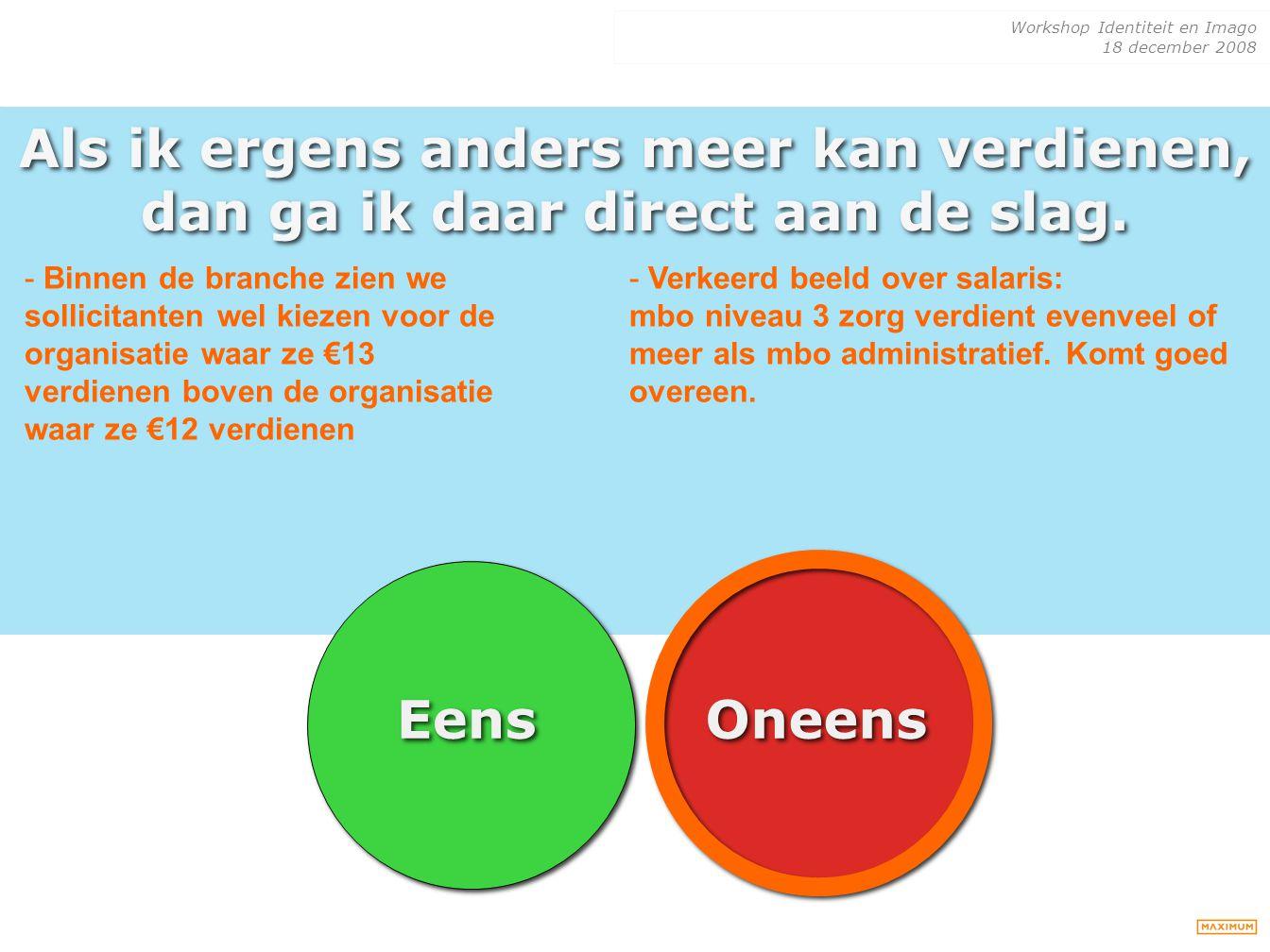 Workshop Identiteit en Imago 18 december 2008 Als ik ergens anders meer kan verdienen, dan ga ik daar direct aan de slag. Eens Oneens - Binnen de bran