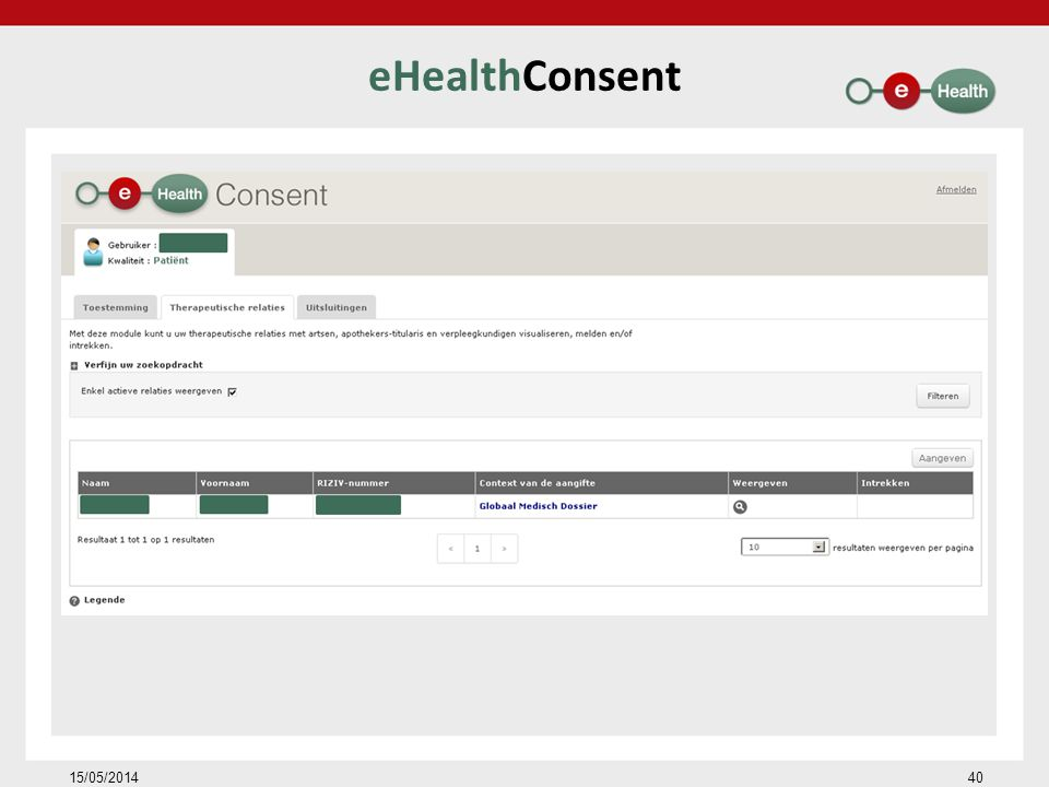 eHealthConsent 15/05/201440