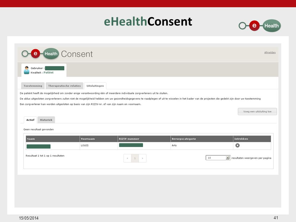 eHealthConsent 15/05/2014 41