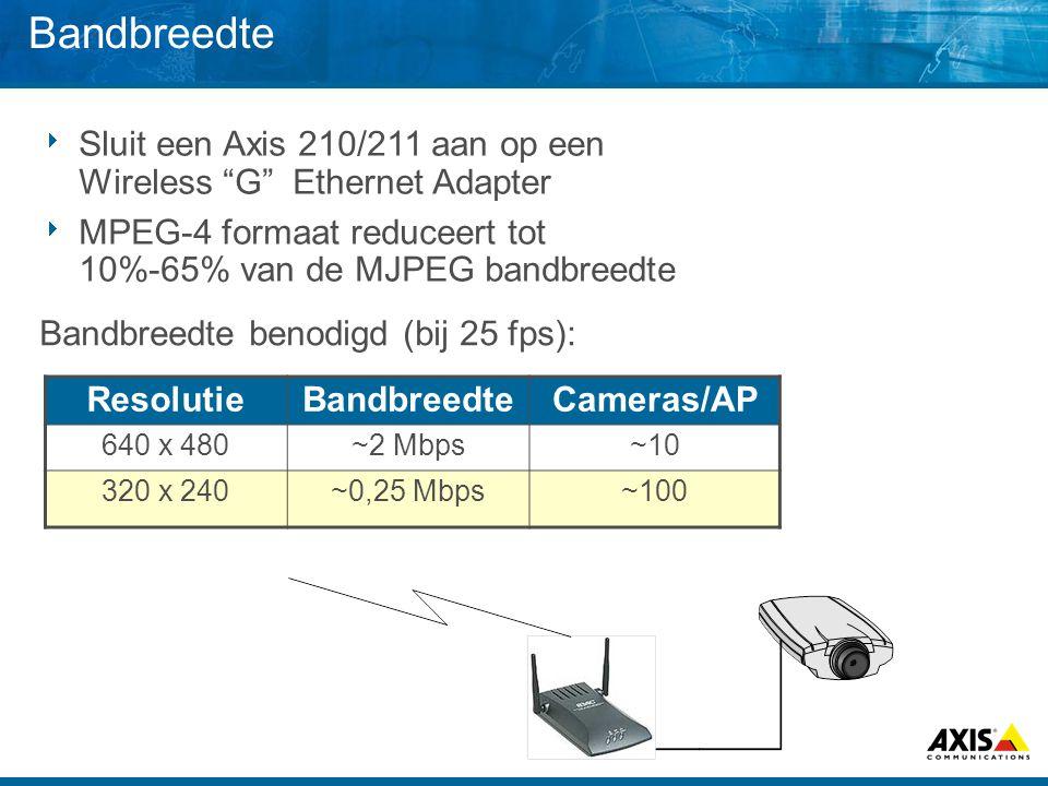 Bandbreedte  Sluit een Axis 210/211 aan op een Wireless G Ethernet Adapter  MPEG-4 formaat reduceert tot 10%-65% van de MJPEG bandbreedte ResolutieBandbreedteCameras/AP 640 x 480~2 Mbps~10 320 x 240~0,25 Mbps~100 Bandbreedte benodigd (bij 25 fps):