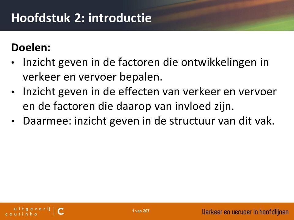 1 van 207 Hoofdstuk 2: introductie Doelen: Inzicht geven in de factoren die ontwikkelingen in verkeer en vervoer bepalen. Inzicht geven in de effecten