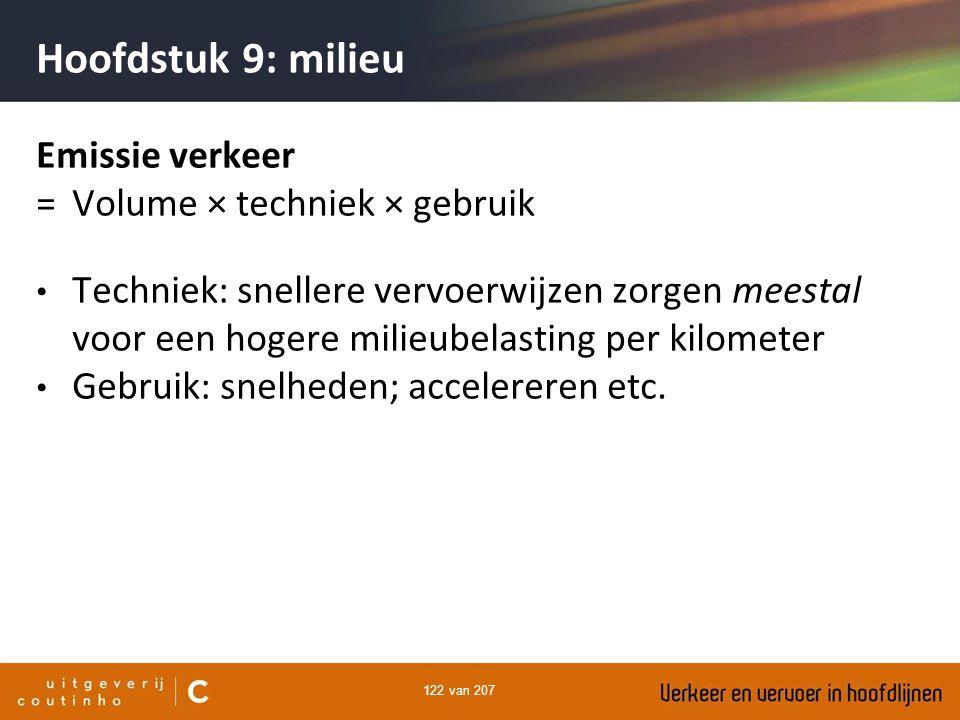 122 van 207 Hoofdstuk 9: milieu Emissie verkeer = Volume × techniek × gebruik Techniek: snellere vervoerwijzen zorgen meestal voor een hogere milieube