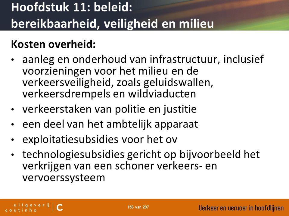 156 van 207 Kosten overheid: aanleg en onderhoud van infrastructuur, inclusief voorzieningen voor het milieu en de verkeersveiligheid, zoals geluidswa
