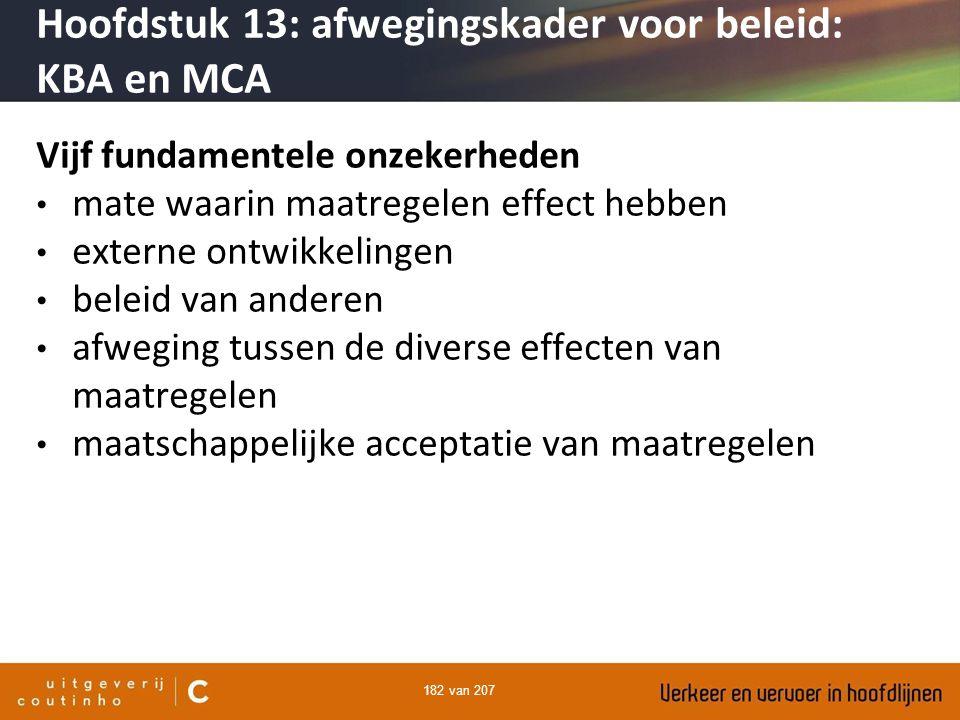 182 van 207 Vijf fundamentele onzekerheden mate waarin maatregelen effect hebben externe ontwikkelingen beleid van anderen afweging tussen de diverse