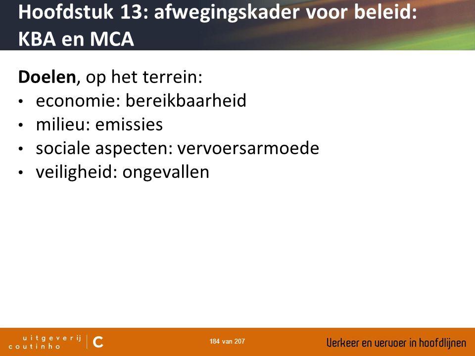 184 van 207 Doelen, op het terrein: economie: bereikbaarheid milieu: emissies sociale aspecten: vervoersarmoede veiligheid: ongevallen Hoofdstuk 13: a