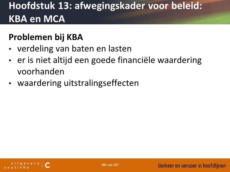 189 van 207 Problemen bij KBA verdeling van baten en lasten er is niet altijd een goede financiële waardering voorhanden waardering uitstralingseffect