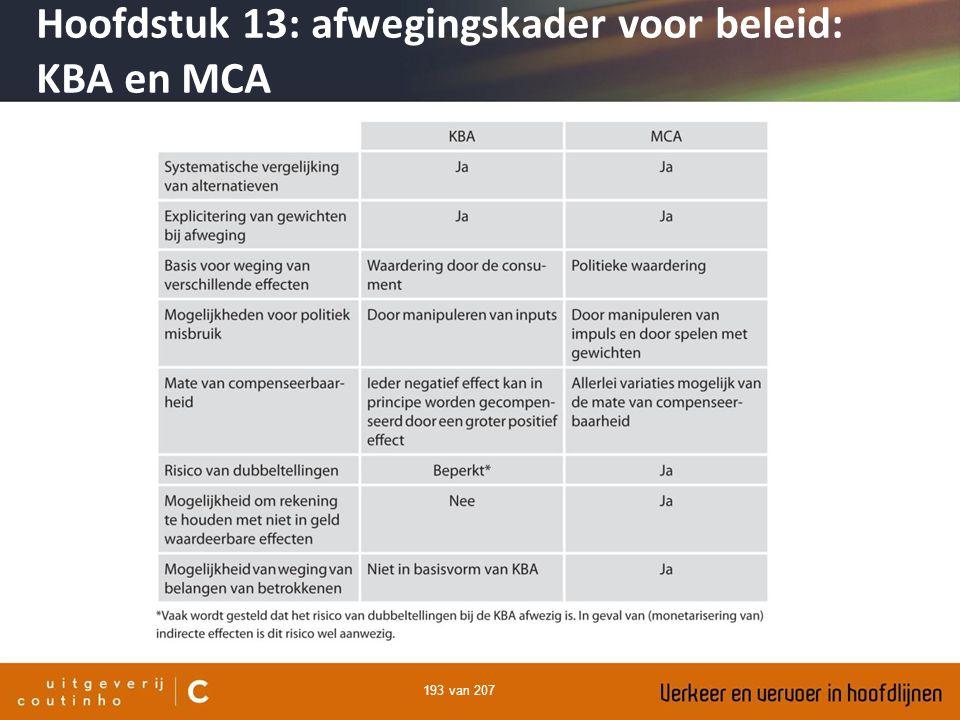 193 van 207 Hoofdstuk 13: afwegingskader voor beleid: KBA en MCA