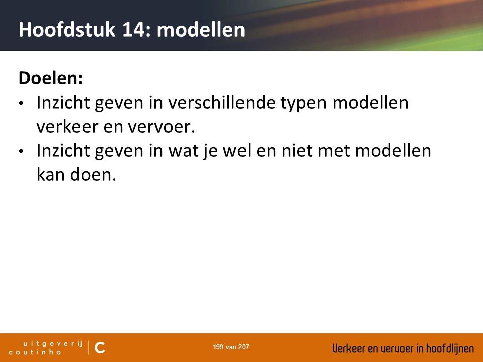 199 van 207 Hoofdstuk 14: modellen Doelen: Inzicht geven in verschillende typen modellen verkeer en vervoer. Inzicht geven in wat je wel en niet met m