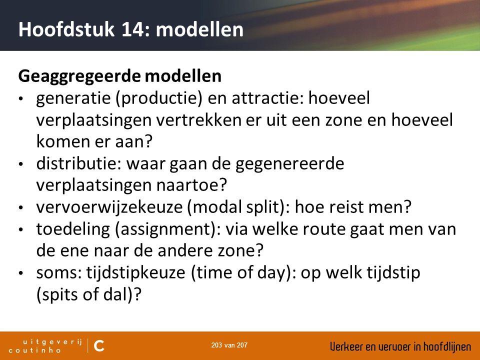 203 van 207 Hoofdstuk 14: modellen Geaggregeerde modellen generatie (productie) en attractie: hoeveel verplaatsingen vertrekken er uit een zone en hoe