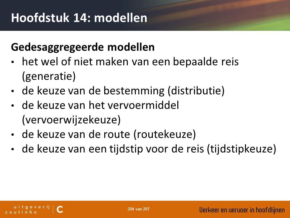 204 van 207 Hoofdstuk 14: modellen Gedesaggregeerde modellen het wel of niet maken van een bepaalde reis (generatie) de keuze van de bestemming (distr