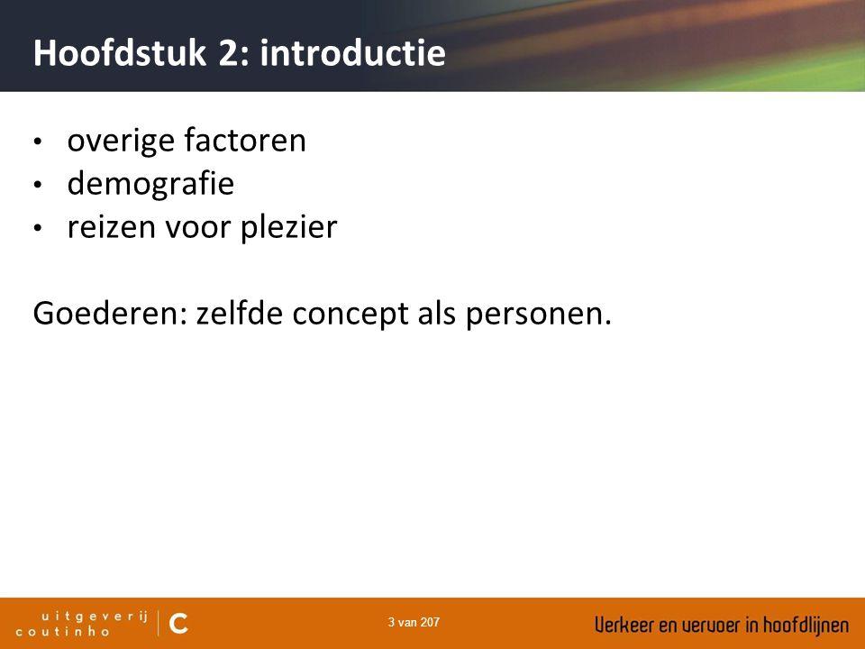 3 van 207 Hoofdstuk 2: introductie overige factoren demografie reizen voor plezier Goederen: zelfde concept als personen.