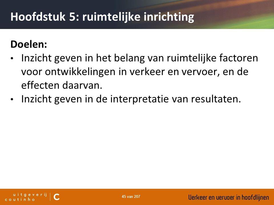 45 van 207 Hoofdstuk 5: ruimtelijke inrichting Doelen: Inzicht geven in het belang van ruimtelijke factoren voor ontwikkelingen in verkeer en vervoer,