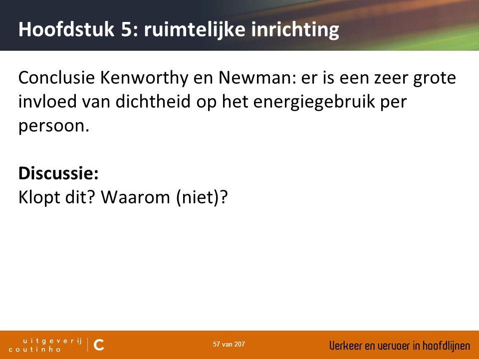57 van 207 Hoofdstuk 5: ruimtelijke inrichting Conclusie Kenworthy en Newman: er is een zeer grote invloed van dichtheid op het energiegebruik per per