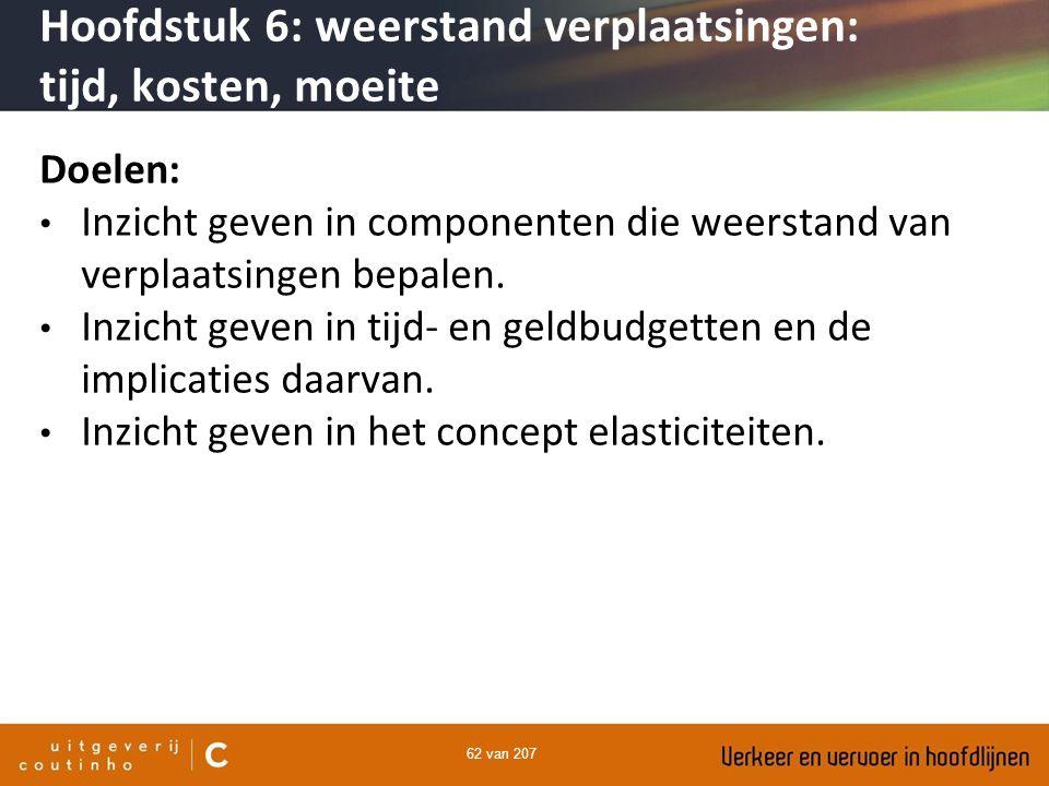 62 van 207 Hoofdstuk 6: weerstand verplaatsingen: tijd, kosten, moeite Doelen: Inzicht geven in componenten die weerstand van verplaatsingen bepalen.