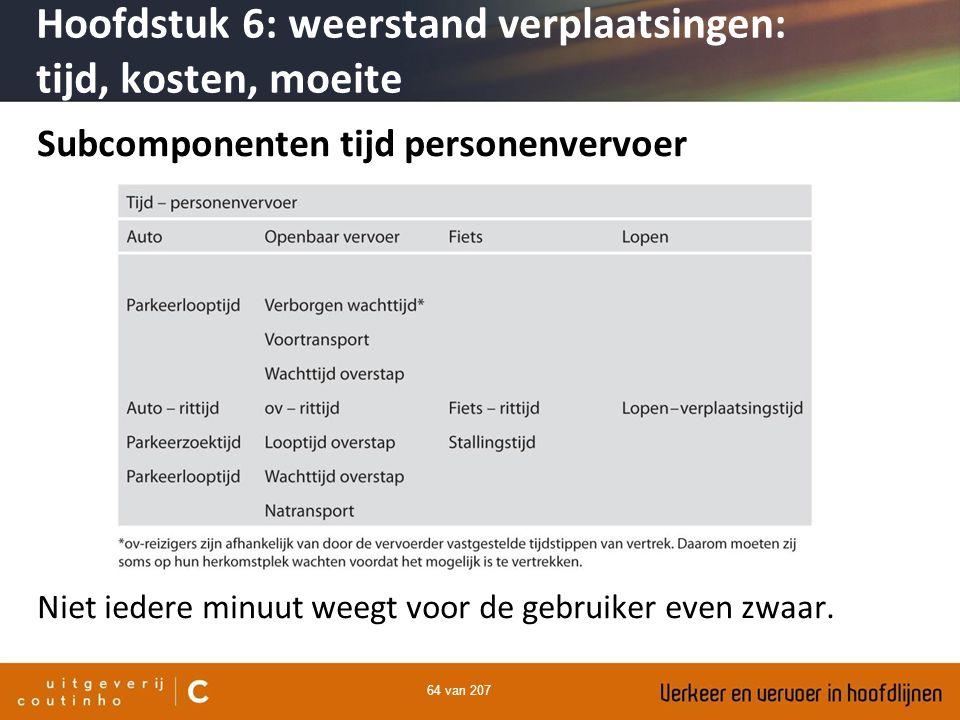 64 van 207 Subcomponenten tijd personenvervoer Niet iedere minuut weegt voor de gebruiker even zwaar. Hoofdstuk 6: weerstand verplaatsingen: tijd, kos
