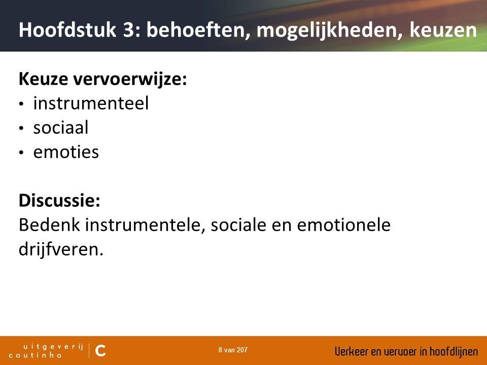 8 van 207 Keuze vervoerwijze: instrumenteel sociaal emoties Discussie: Bedenk instrumentele, sociale en emotionele drijfveren. Hoofdstuk 3: behoeften,