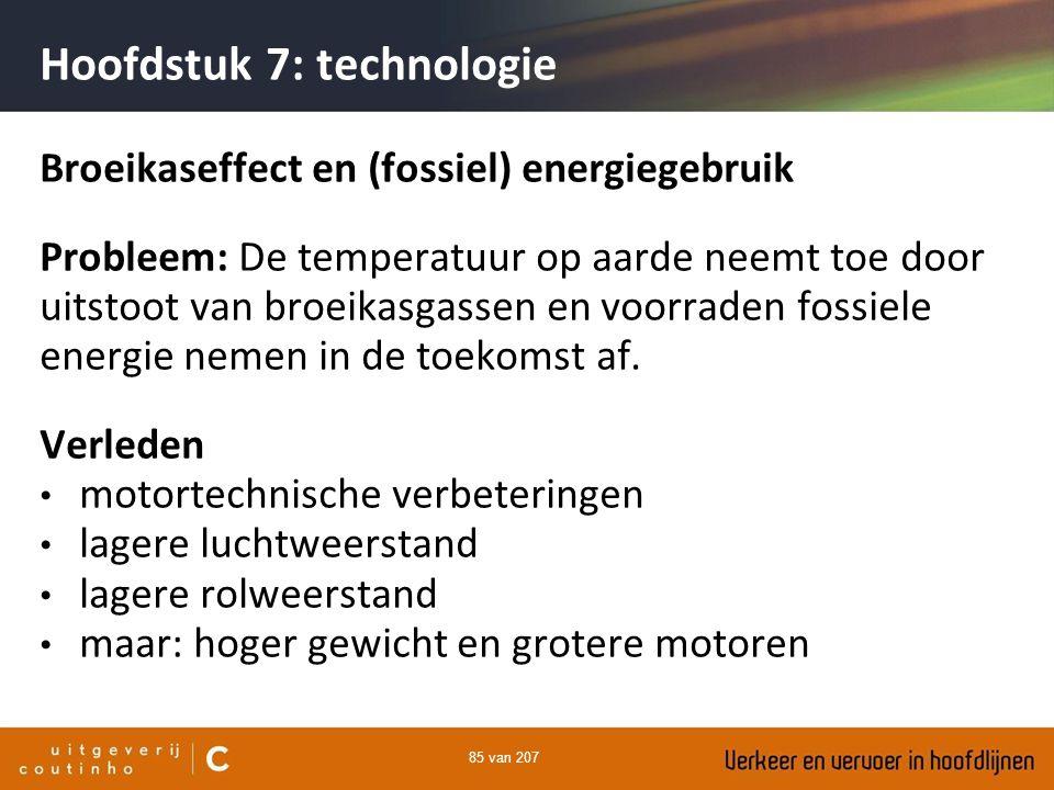 85 van 207 Hoofdstuk 7: technologie Broeikaseffect en (fossiel) energiegebruik Probleem: De temperatuur op aarde neemt toe door uitstoot van broeikasg