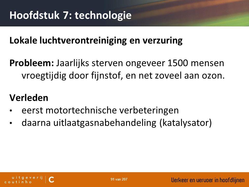 91 van 207 Hoofdstuk 7: technologie Lokale luchtverontreiniging en verzuring Probleem: Jaarlijks sterven ongeveer 1500 mensen vroegtijdig door fijnsto