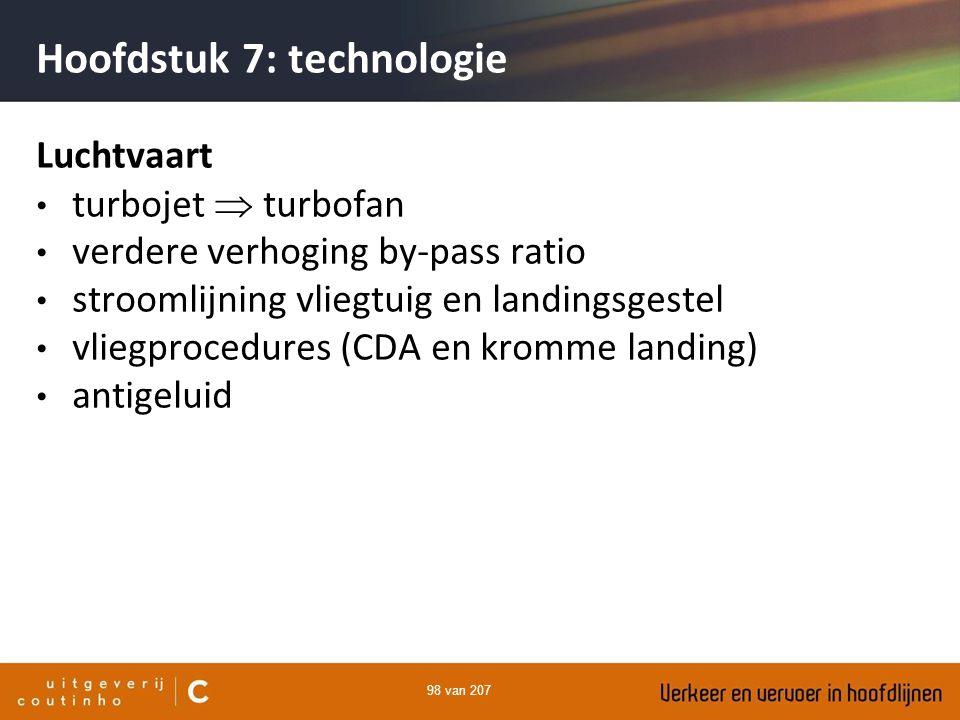 98 van 207 Hoofdstuk 7: technologie Luchtvaart turbojet  turbofan verdere verhoging by-pass ratio stroomlijning vliegtuig en landingsgestel vliegproc