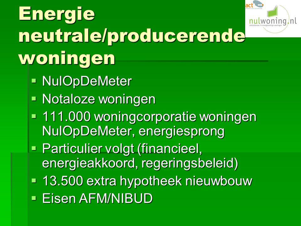 Energie neutrale/producerende woningen  NulOpDeMeter  Notaloze woningen  111.000 woningcorporatie woningen NulOpDeMeter, energiesprong  Particulier volgt (financieel, energieakkoord, regeringsbeleid)  13.500 extra hypotheek nieuwbouw  Eisen AFM/NIBUD