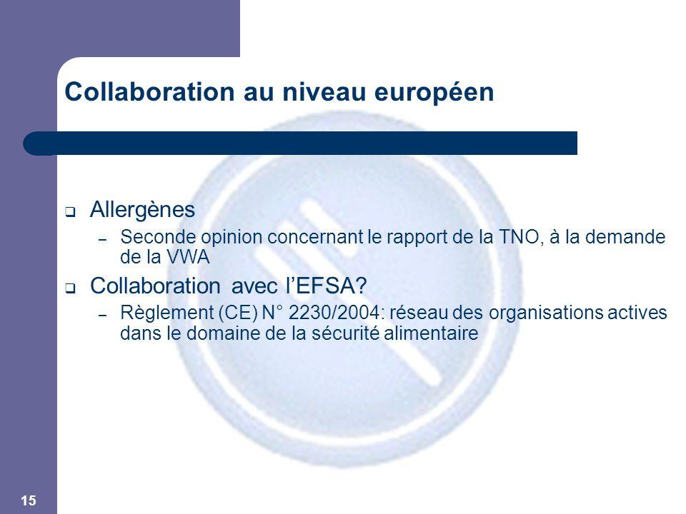15 Collaboration au niveau européen  Allergènes – Seconde opinion concernant le rapport de la TNO, à la demande de la VWA  Collaboration avec l'EFSA.