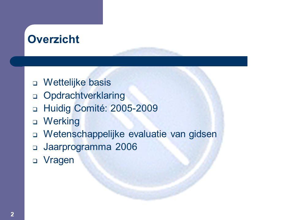 2 Overzicht  Wettelijke basis  Opdrachtverklaring  Huidig Comité: 2005-2009  Werking  Wetenschappelijke evaluatie van gidsen  Jaarprogramma 2006  Vragen