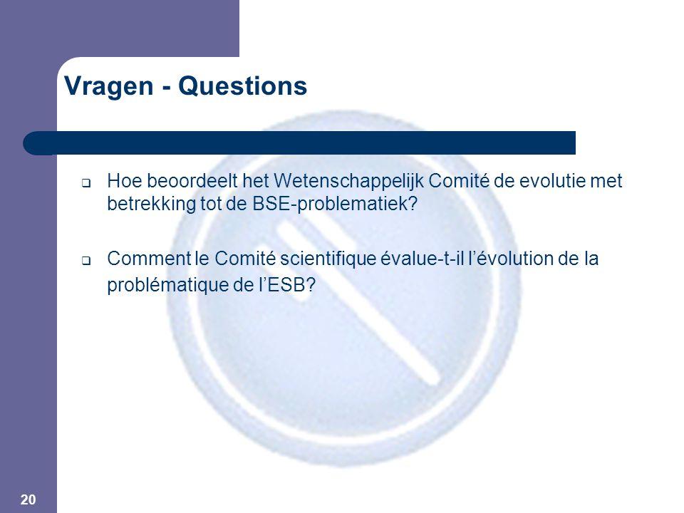 20 Vragen - Questions  Hoe beoordeelt het Wetenschappelijk Comité de evolutie met betrekking tot de BSE-problematiek.