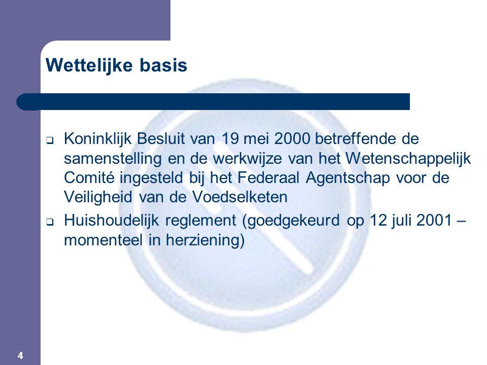 4 Wettelijke basis  Koninklijk Besluit van 19 mei 2000 betreffende de samenstelling en de werkwijze van het Wetenschappelijk Comité ingesteld bij het Federaal Agentschap voor de Veiligheid van de Voedselketen  Huishoudelijk reglement (goedgekeurd op 12 juli 2001 – momenteel in herziening)