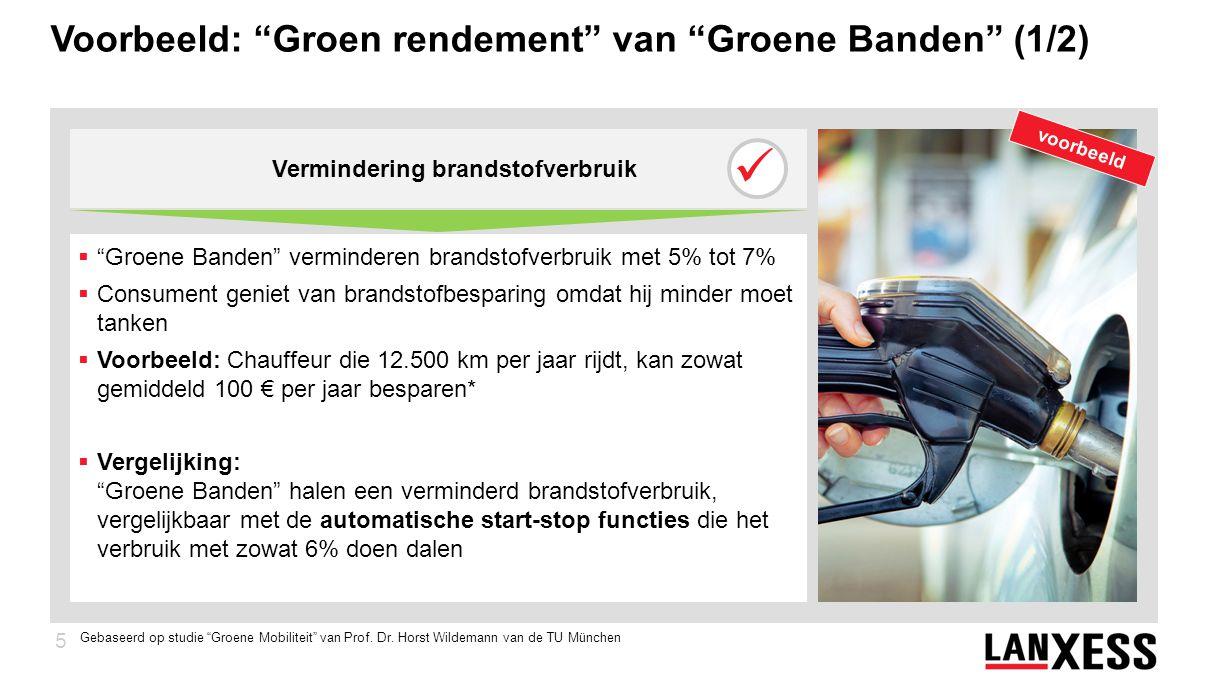 5 Voorbeeld: Groen rendement van Groene Banden (1/2)  Groene Banden verminderen brandstofverbruik met 5% tot 7%  Consument geniet van brandstofbesparing omdat hij minder moet tanken  Voorbeeld: Chauffeur die 12.500 km per jaar rijdt, kan zowat gemiddeld 100 € per jaar besparen*  Vergelijking: Groene Banden halen een verminderd brandstofverbruik, vergelijkbaar met de automatische start-stop functies die het verbruik met zowat 6% doen dalen Vermindering brandstofverbruik voorbeeld Gebaseerd op studie Groene Mobiliteit van Prof.