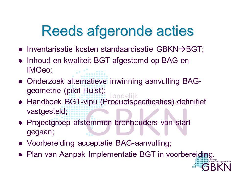 Reeds afgeronde acties l Inventarisatie kosten standaardisatie GBKN  BGT; l Inhoud en kwaliteit BGT afgestemd op BAG en IMGeo; l Onderzoek alternatieve inwinning aanvulling BAG- geometrie (pilot Hulst); l Handboek BGT-vipu (Productspecificaties) definitief vastgesteld; l Projectgroep afstemmen bronhouders van start gegaan; l Voorbereiding acceptatie BAG-aanvulling; l Plan van Aanpak Implementatie BGT in voorbereiding.